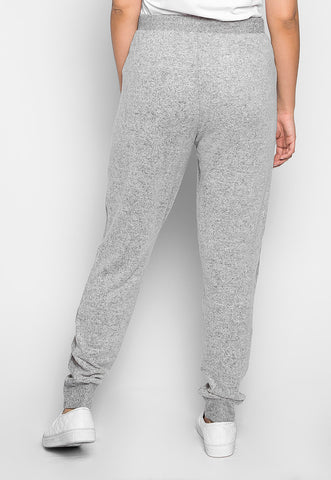 Plus Size Confetti Ribbed Side Joggers in Gray