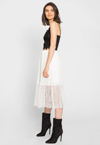 Celebration Pleated Lace Midi Skirt in White