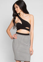 Burough Stripe Skirt in Black