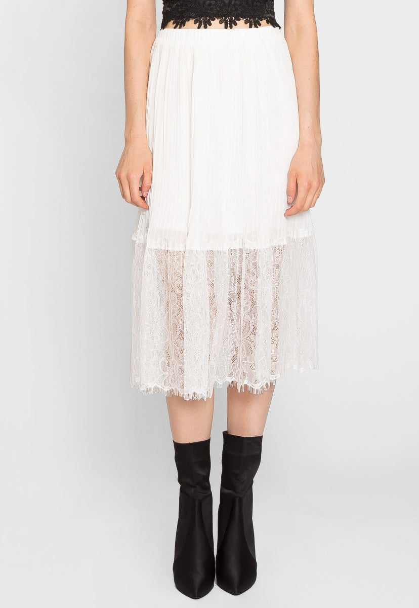 Celebration Pleated Lace Midi Skirt in White - Skirts - Wetseal