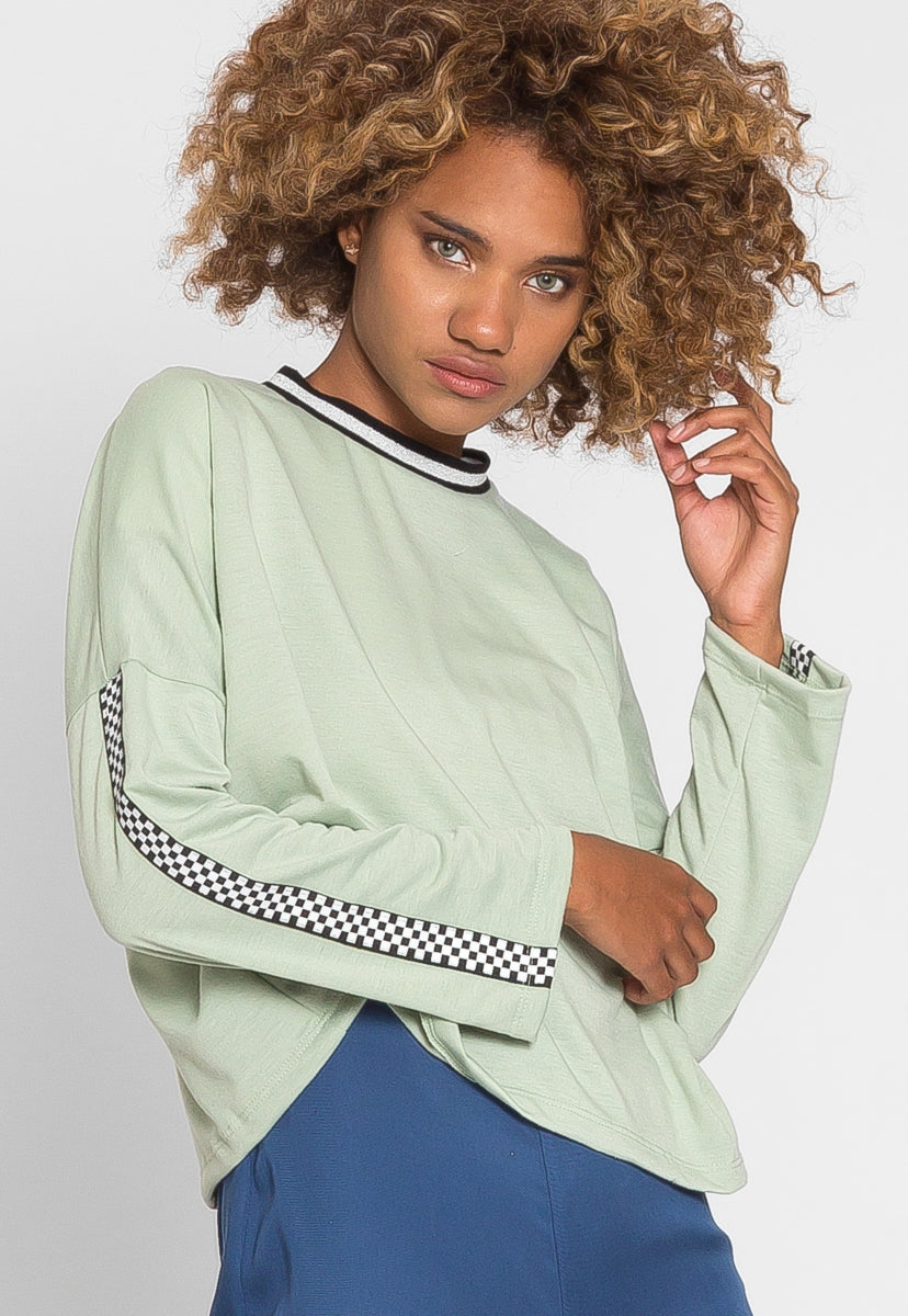 For You Checkboard Trim Knit Top in Mint - Sweaters & Sweatshirts - Wetseal