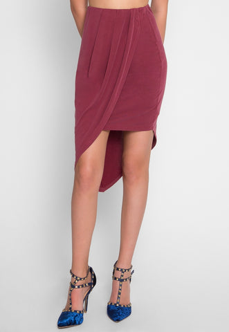 Asymmetric Knit Skirt in Burgundy