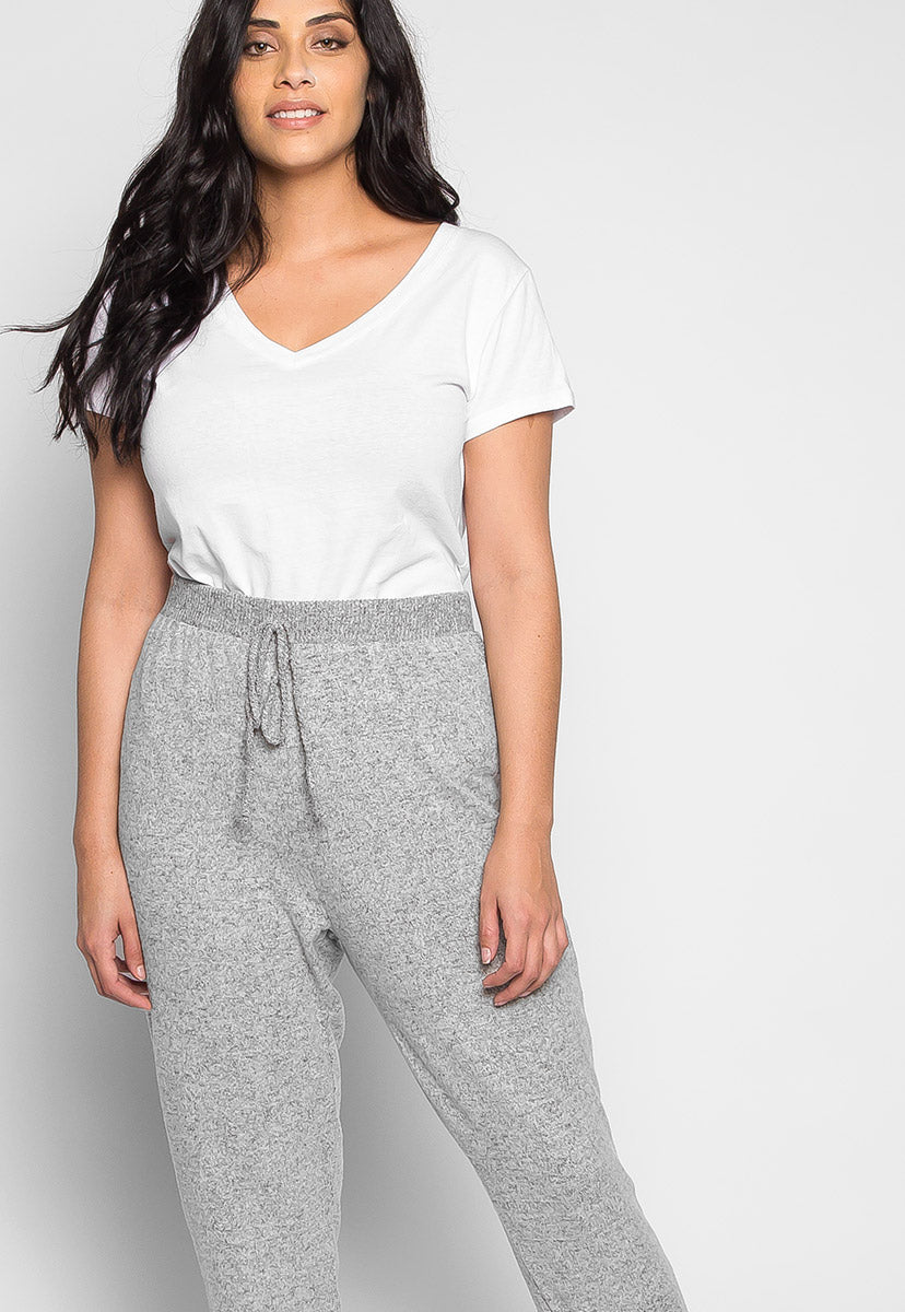 Plus Size Confetti Ribbed Side Joggers in Gray - Plus Bottoms - Wetseal