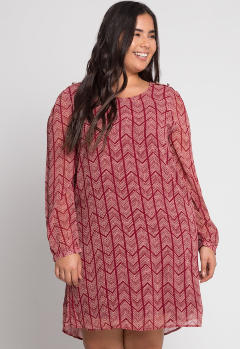 Plus Size Zig Chevron Dress in Burgundy