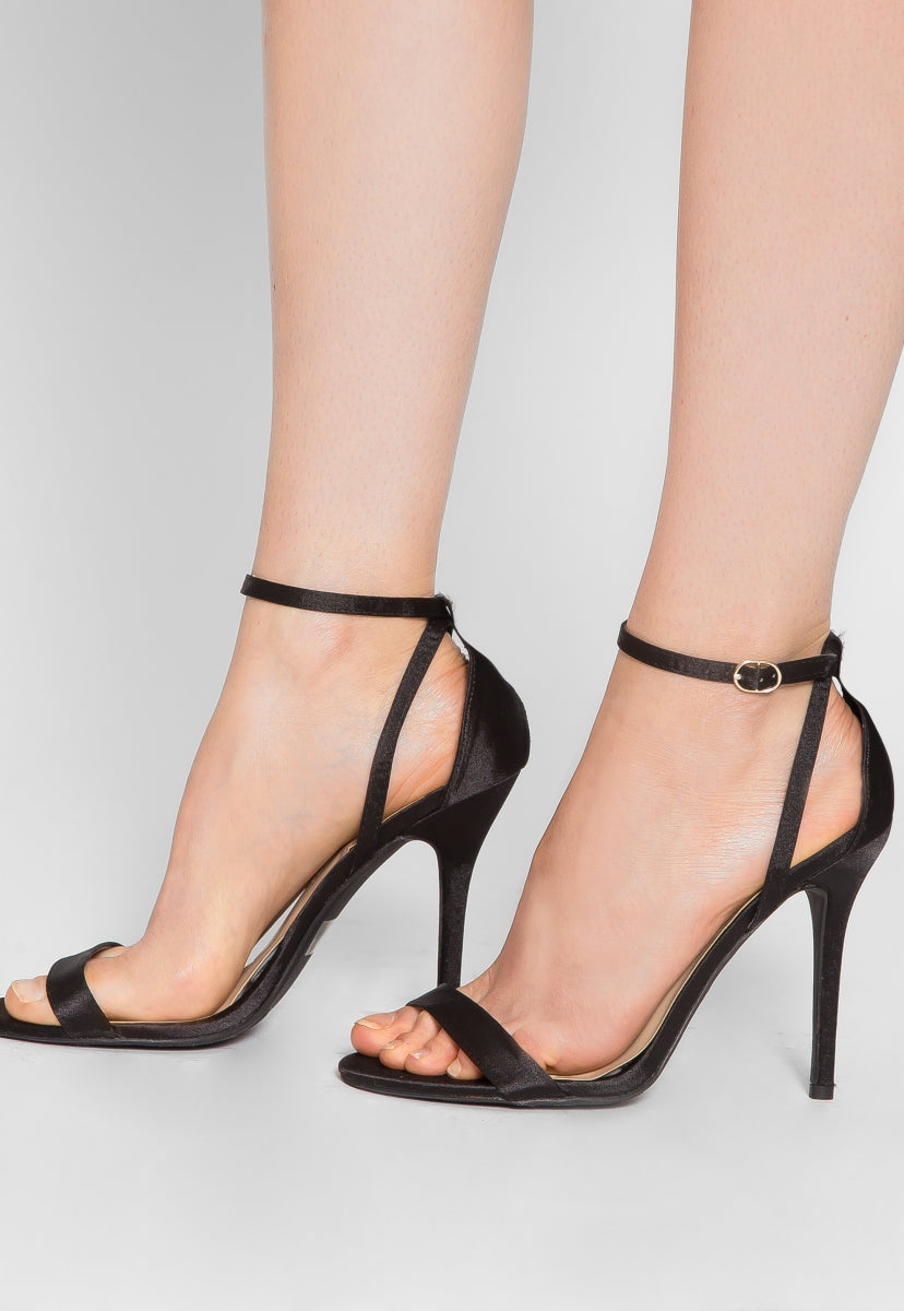 Make Me Wait Satin Ankle Strap Heels - Shoes - Wetseal