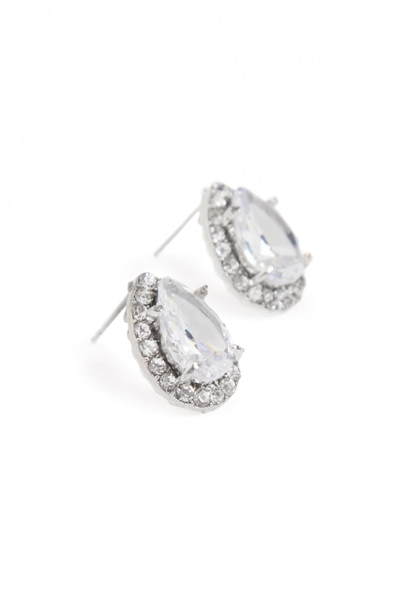 Rise Rhinestone Stud Earrings in Silver - Jewelry - Wetseal