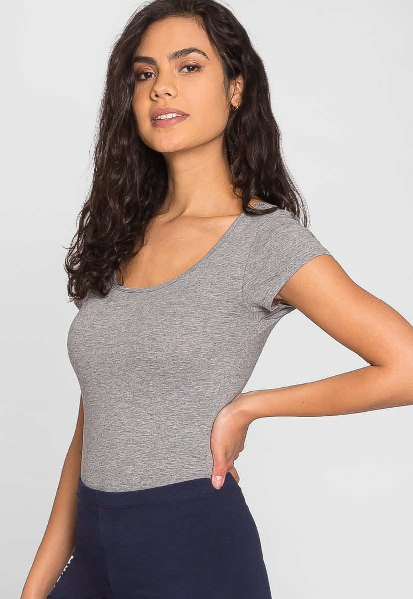 Juliet Short Sleeve Bodysuit in Gray - Bodysuits - Wetseal