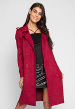 Mirage Faux Suede Trench Coat in Burgundy