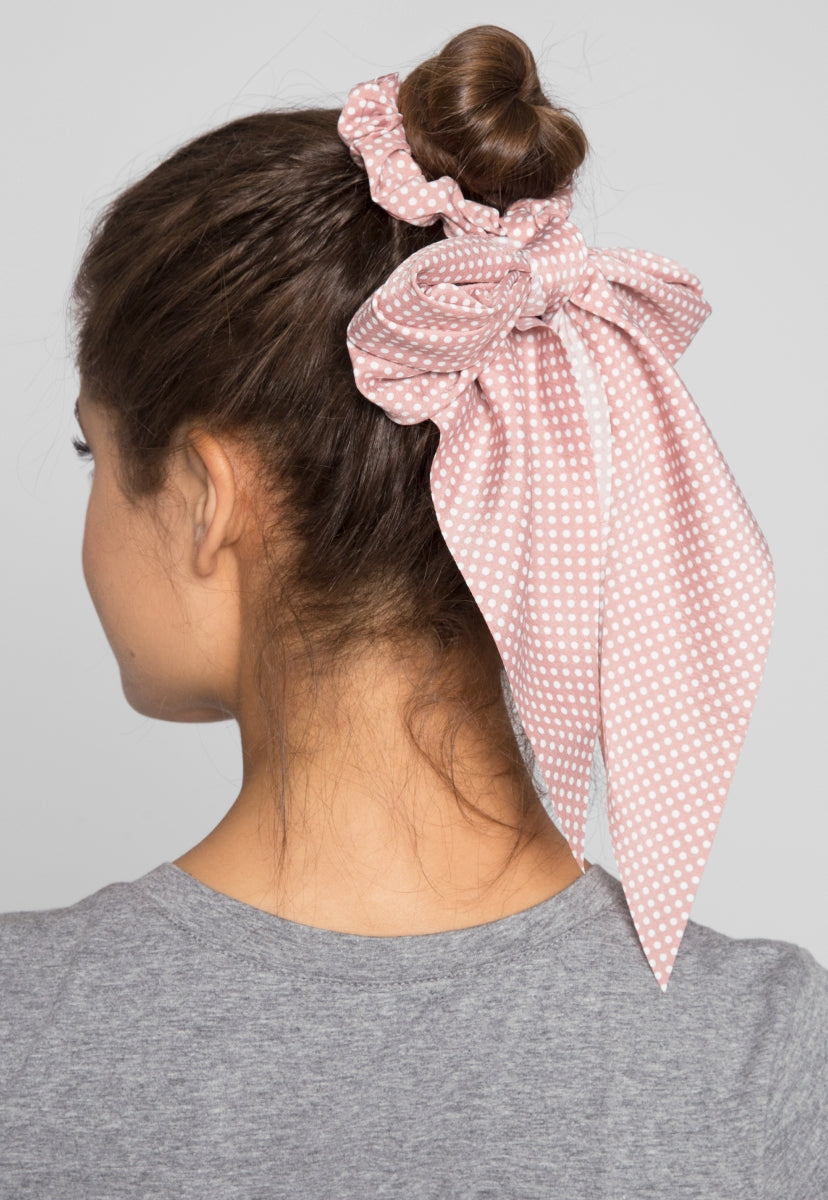 Pond Polka Dot Tail Scrunchie in Pink - Hat & Hair - Wetseal