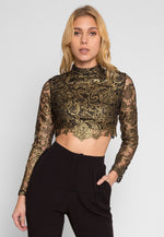Showy Lace Crop Top in Yellow