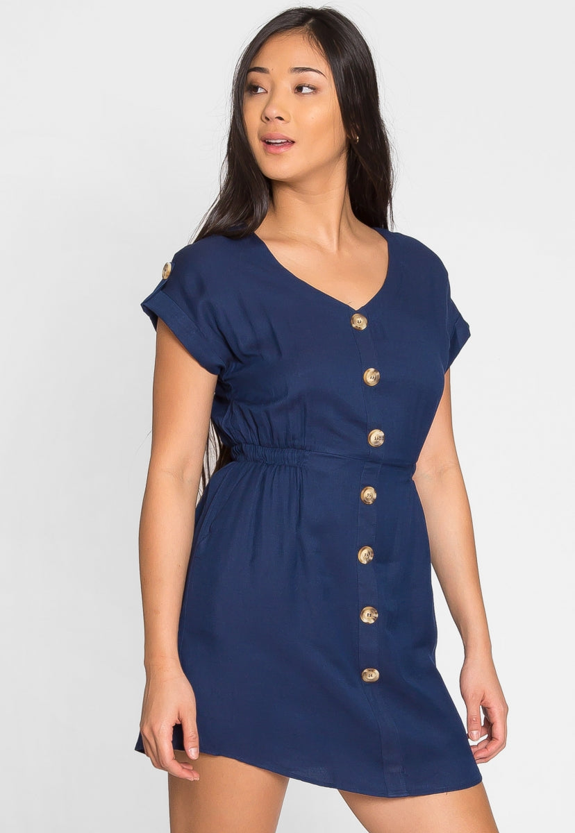 Faith Button Front Dress in Navy - Dresses - Wetseal