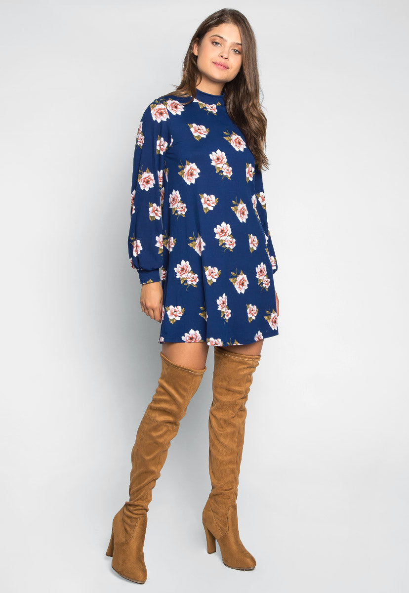 Happy Soul Floral Dress in Navy - Dresses - Wetseal