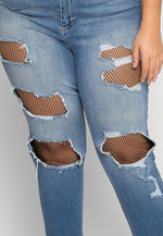 Plus Size Under Construction Distressed Jeans