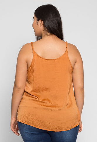 Plus Size Tangerine Satin Tank Top