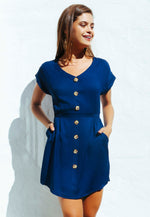 Faith Button Front Dress in Navy