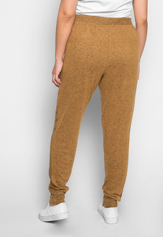 Plus Size Confetti Ribbed Side Joggers in Mustard