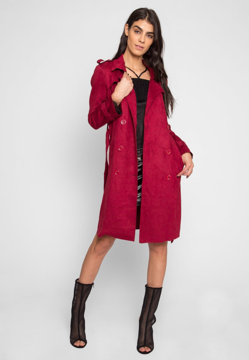 Mirage Faux Suede Trench Coat in Burgundy - Jackets & Coats - Wetseal