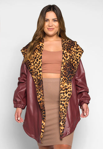 Plus Size Wild Side Faux Leather Jacket in Burgundy