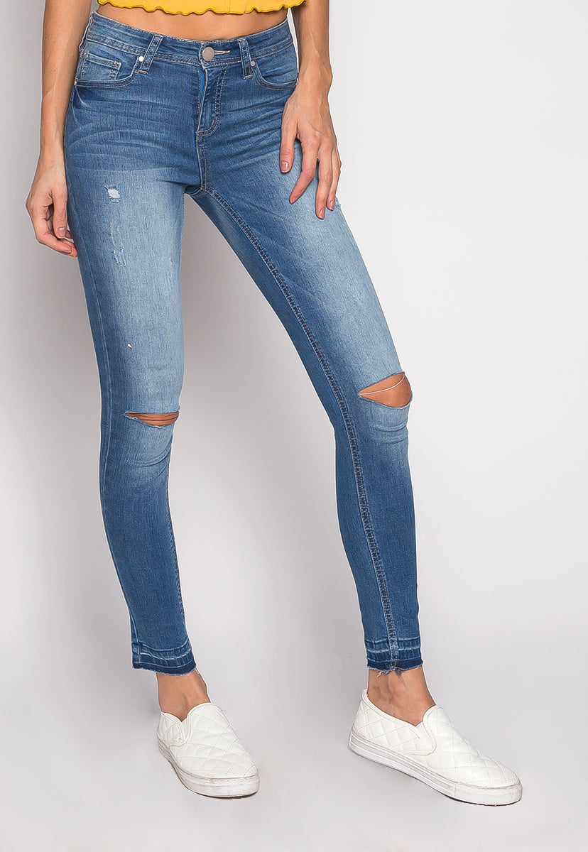 Music Festival Washed Out Skinny Jeans in Blue - Jeans - Wetseal
