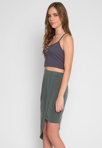 Asymmetric Knit Skirt in Olive