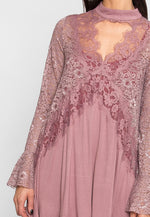 Sandy Lace Empire Tent Dress in Mauve