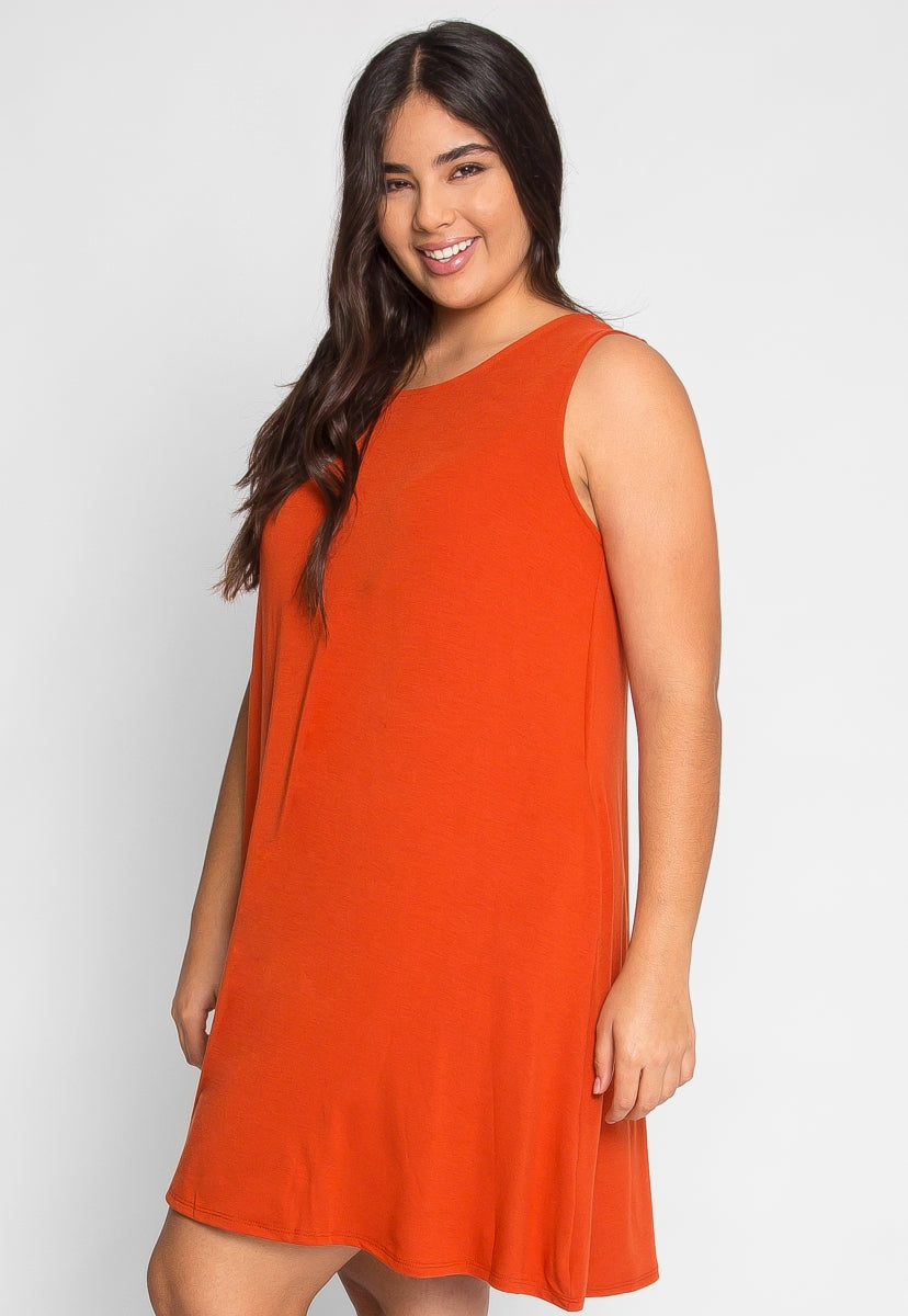 Plus Size Tunic Dress in Copper
