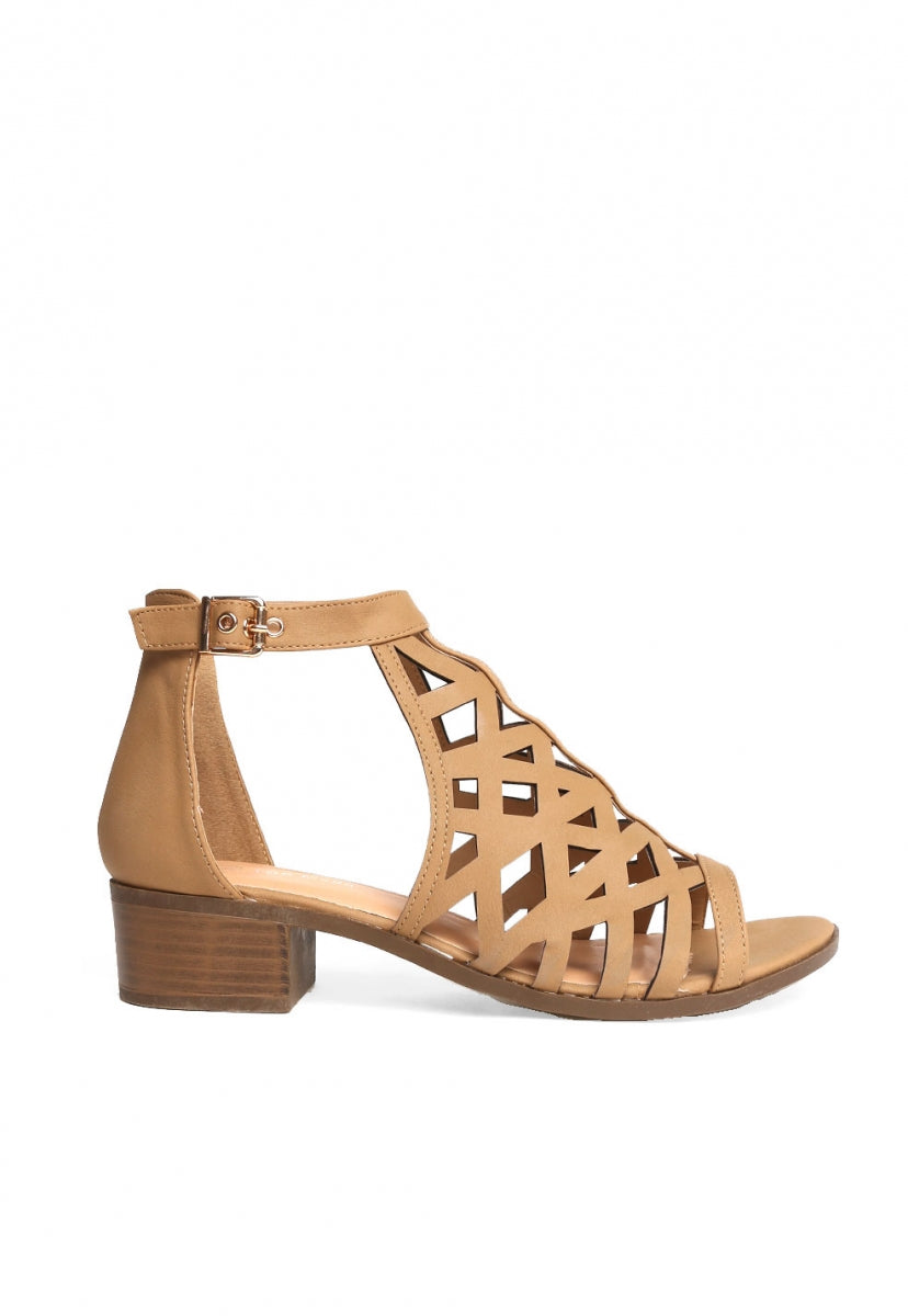 Simone Laser Cut Low Heel Sandals - Shoes - Wetseal