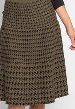 Ellis Houndstooth Print Skirt in Olive