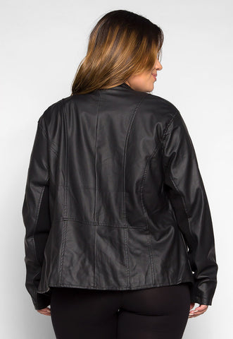 Plus Size Valley Faux Leather Jacket
