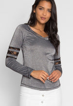 University Raglan Sleeve Top in Gray