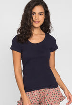 Billie Scoop Neck Tee in Navy