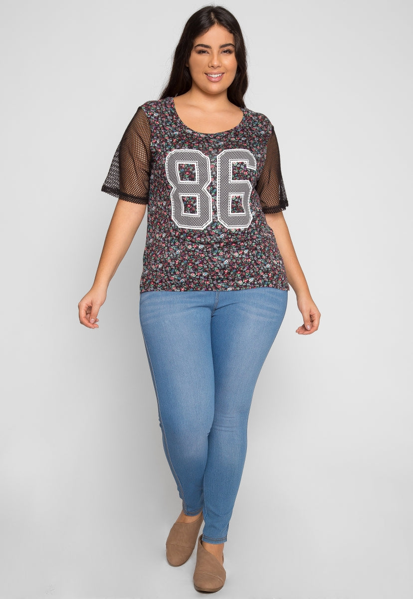 Plus Size Glory Floral Jersey Top - Plus Tops - Wetseal