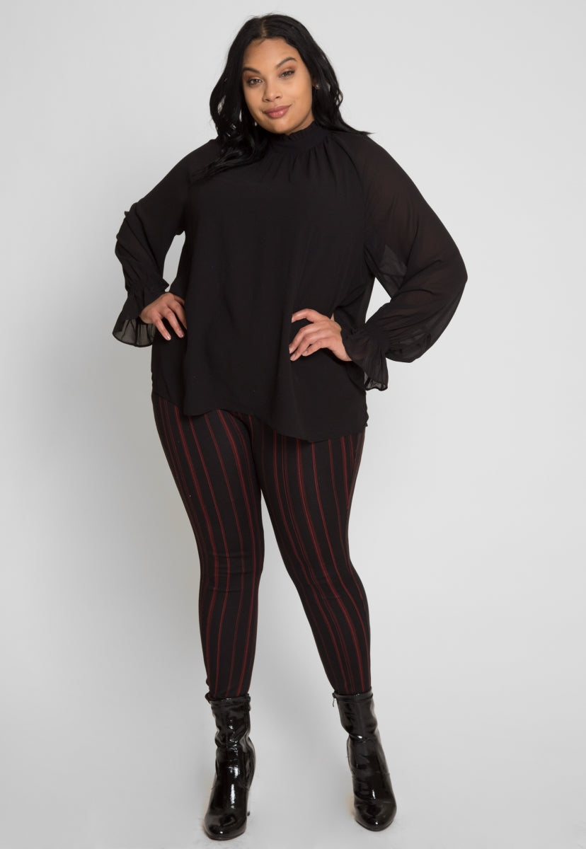 Plus Size Girly Chiffon Party Top in Black - Plus Tops - Wetseal