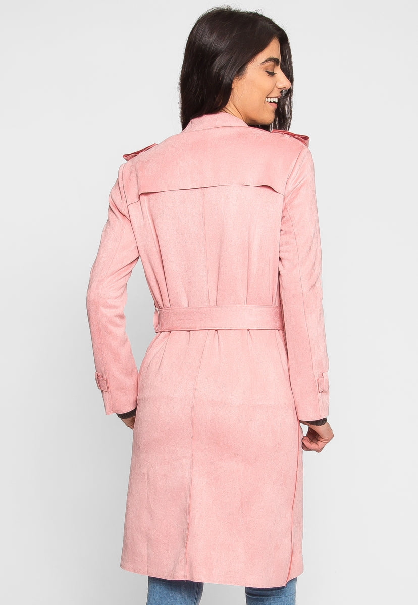 Mirage Faux Suede Trench Coat in Pink - Jackets & Coats - Wetseal