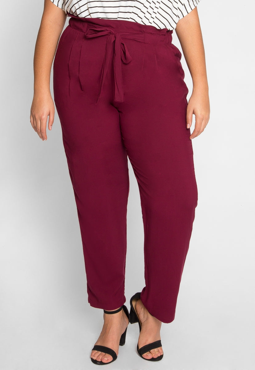 Plus Size Paperbag Waist Pants - Plus Bottoms - Wetseal