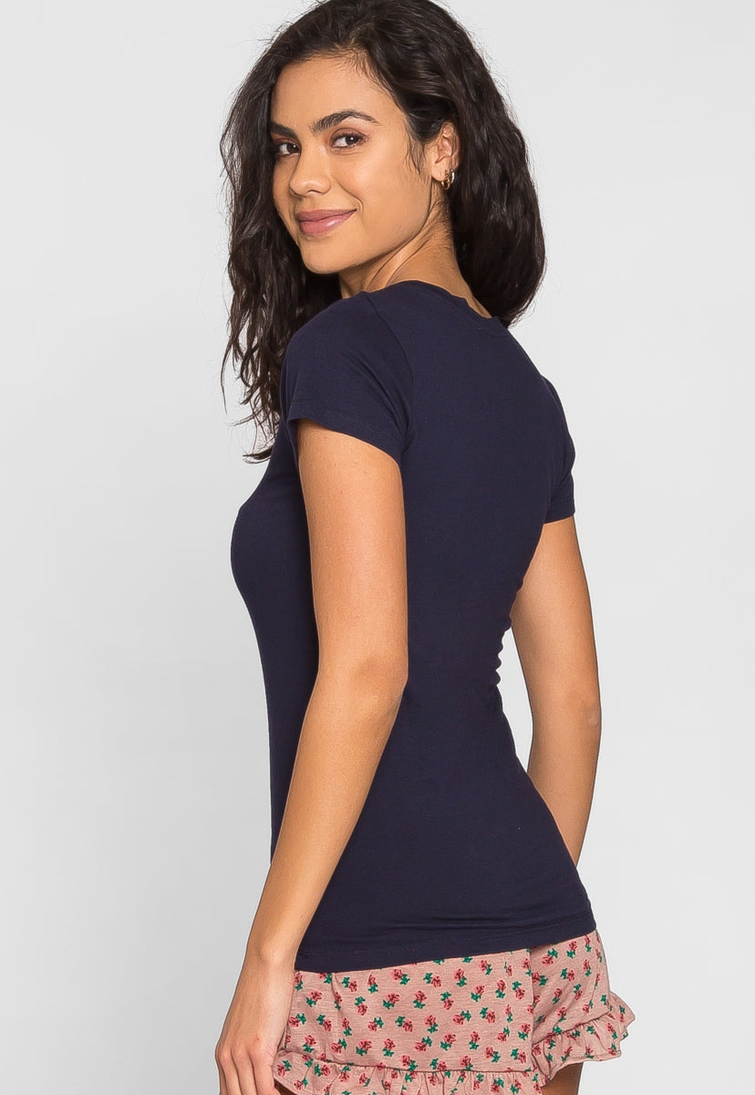 Billie Scoop Neck Tee in Navy - T-shirts - Wetseal