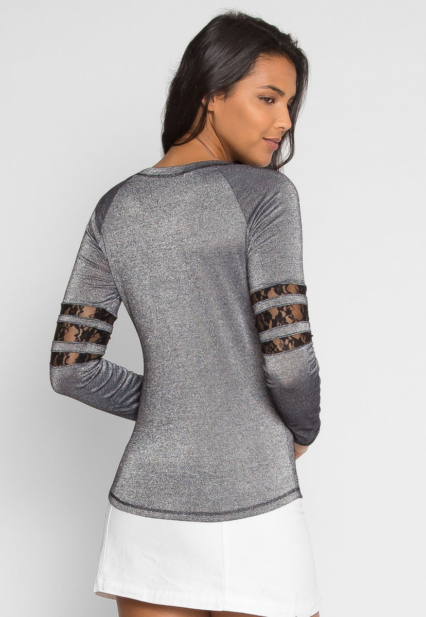 University Raglan Sleeve Top in Gray - Shirts & Blouses - Wetseal