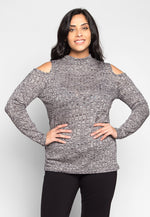 Plus Size Alaska High Neck Heathered Knit Top