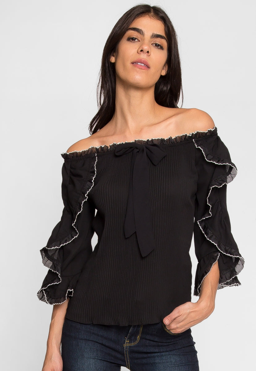 Idol Off Shoulder Pleated Top - Shirts & Blouses - Wetseal