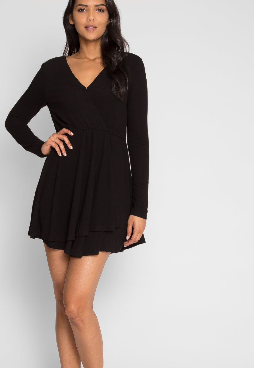 All Night Faux Wrap Dress - Dresses - Wetseal