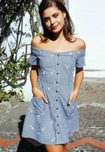 Simons Floral Gingham Dress in Blue