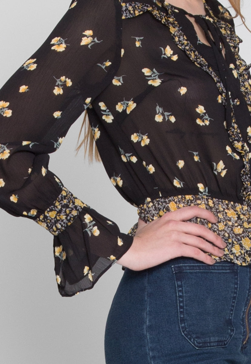Roxie Printed Floral Blouse - Shirts & Blouses - Wetseal