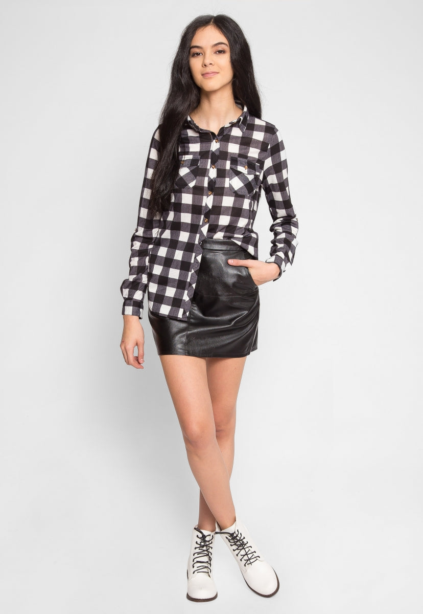 Brighton Plaid Button Up Shirt - Shirts & Blouses - Wetseal