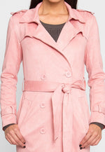 Mirage Faux Suede Trench Coat in Pink