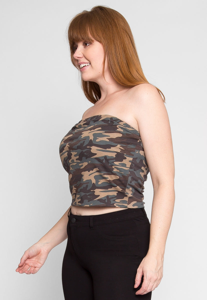 Plus Size Rebel Camo Tube Top - Plus Tops - Wetseal