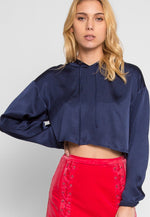 Sporty Glam Satin Hoodie Cropped Top