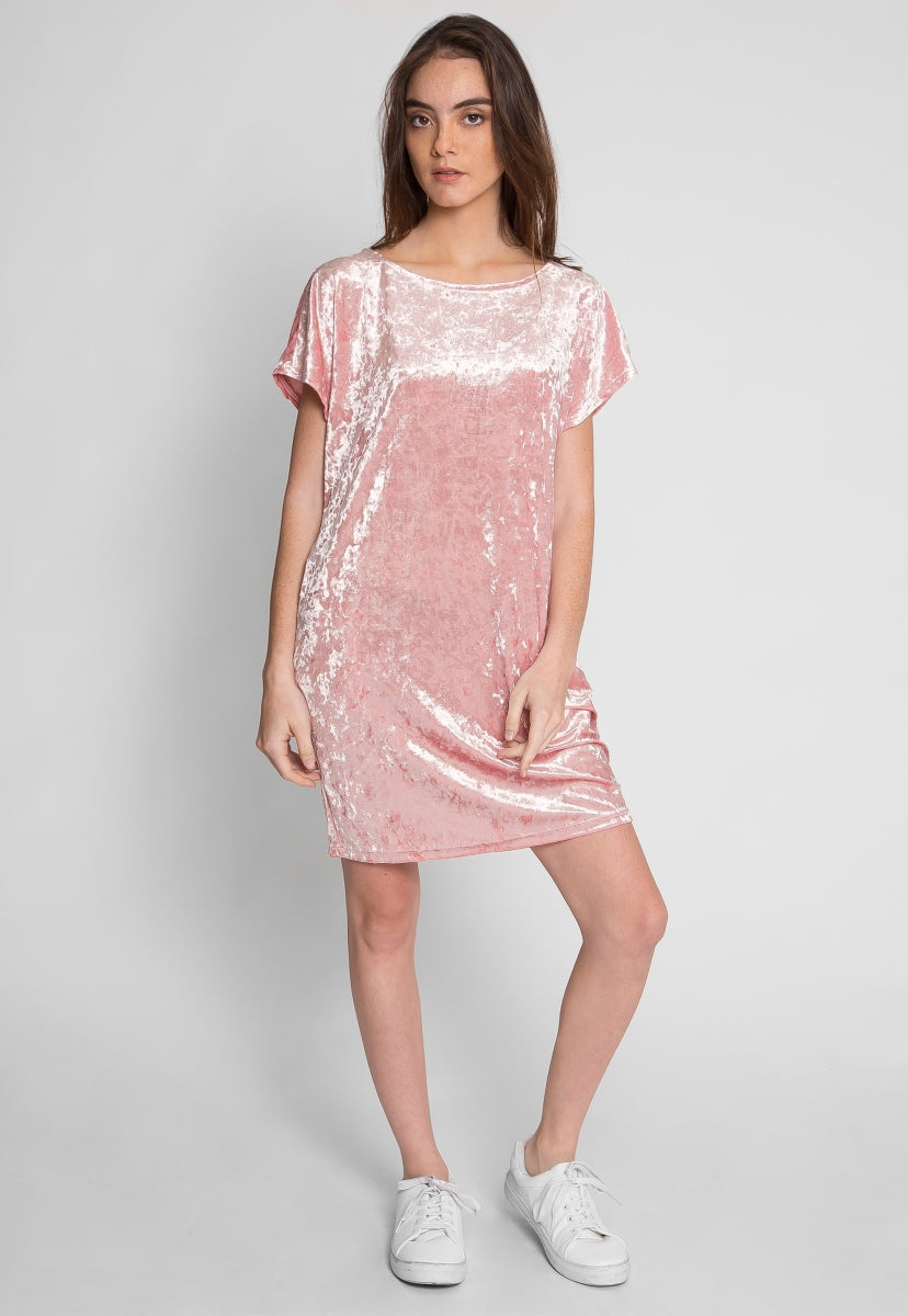 Stand By Me Velvet Dress in Blush - Dresses - Wetseal