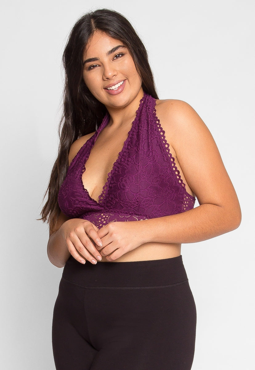 a7db073611 Plus Size Be There Halter Bralette in Plum