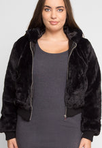 Plus Size Radical Plush Crop Bomber Jacket