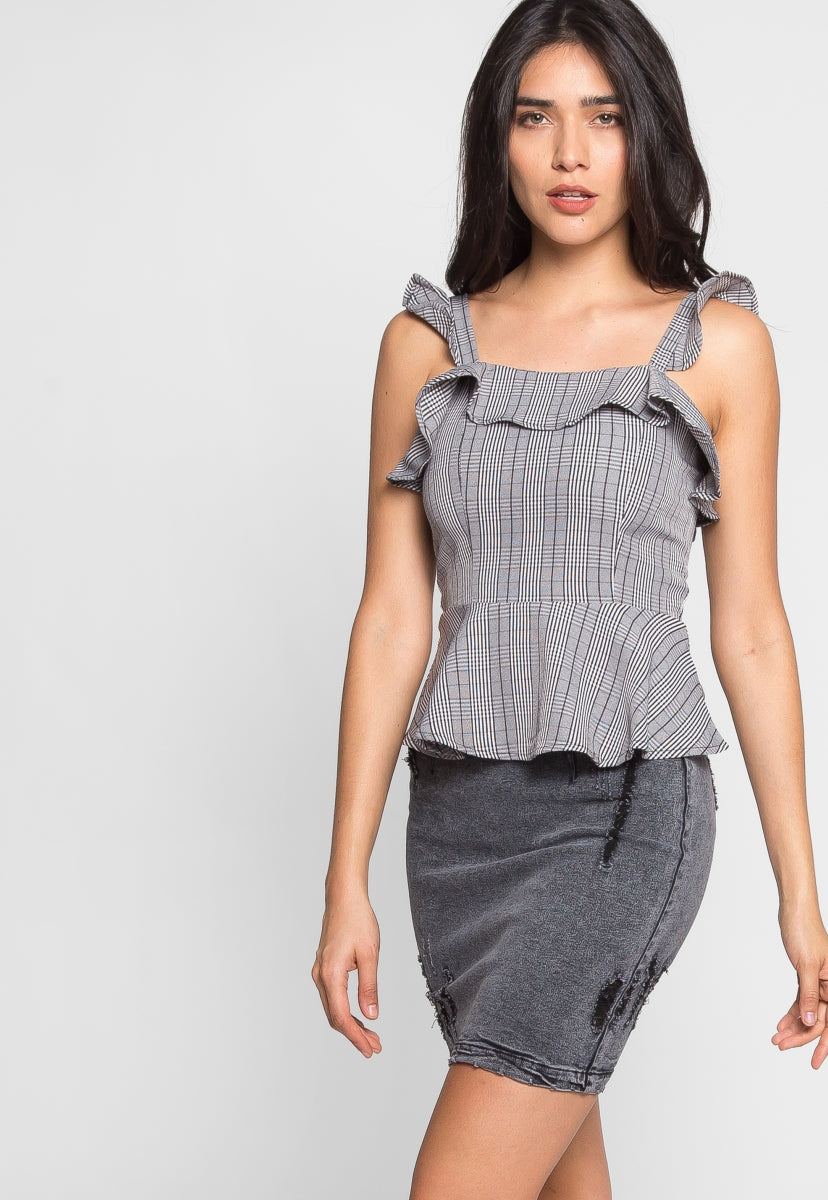 London Plaid Peplum Top in Black - Shirts & Blouses - Wetseal
